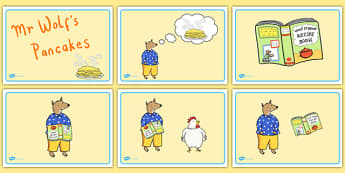 Story Sequencing to Support Teaching on Mr Wolf's Pancakes - mr wolfs pancakes, story