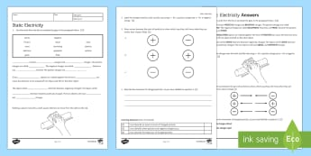 Static Electricity Homework Activity Sheet - Homework, worksheet, static, electricity, charges, charge, discharge, particle, positive, negative,