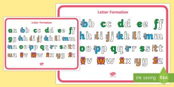 Letter Formation Alphabet Display Poster  - Letter Formation Poster Pack - letter formation, display poster, display, poster, letter, formation,