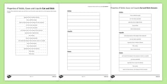 Comparing Properties of Solids, Liquids and Gases Cut and Stick Activity Sheet, worksheet