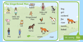 The Gingerbread Man Word Mat - The Gingerbread Man, word mat, writing aid, traditional tales, tale, fairy tale, gingerbread, little old man, little old woman, fox, run run