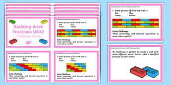 UKS2 Building Brick Fraction Challenge Cards