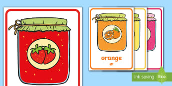Jam Jars Colour Flashcards Flashcards French - Jam, Jars, colours, vocabulary, french