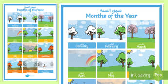 Months of the Year Poster Arabic/English - Months of the Year Poster - months, year, poster, display, display poster,months of the yearenglish,