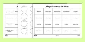 Bingo de autores de libros - spanish, book, reading, read, bingo, activity, worksheet