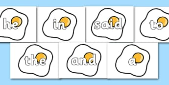 100 High Frequency Words on Fried Eggs - High frequency words, hfw, DfES Letters and Sounds, Letters and Sounds, display words