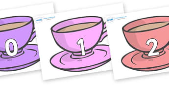 Numbers 0-31 on Cups - 0-31, foundation stage numeracy, Number recognition, Number flashcards, counting, number frieze, Display numbers, number posters
