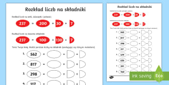 Karta Rozkład liczb na składniki - dziesiątkowy, dziesiętny, zapis, system, układ, matematyka, podstawowa, liczb, liczby, jedności,