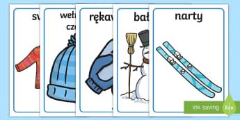 Plakaty na gazetkę Zima - pingwin, pingwiny, narty, łyżwy, sweter, rękawiczki, szal, szalik, czapka, zimowe, zimowy, pory r