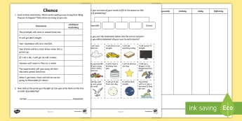 Chance Activity Sheets - likelihood, chance, uncertain, certain, unlikely, odds,Australia, worksheets