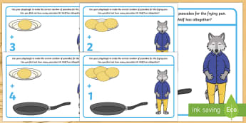 Addition Playdough Mats - Mr Wolf's Pancakes, pancake day, Jan Fearnley, adding, plus, maths, add