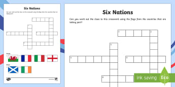 Rugby Six Nations Crossword - KS1 & KS2 Rugby Six Nations  (4th February 2017), rugby, England, Ireland, Scotland, Wales, France,