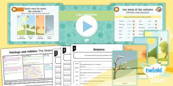 PlanIt - French Year 4 - Holidays and Hobbies Lesson 1: The Seasons Lesson Pack - french, languages, grammar, seasons, months, les mois, les saisons, au printemps, en hiver, en été