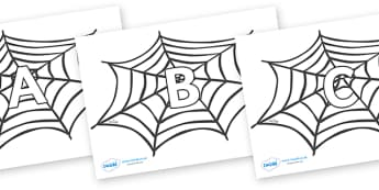 A-Z Alphabet on Spiders Web - A-Z, A4, display, Alphabet frieze, Display letters, Letter posters, A-Z letters, Alphabet flashcards
