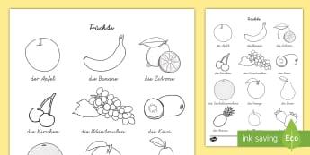 Früchte Bilderlexikon zum Anmalen - Früchte Bilderlexikon zum Anmalen, Früchte, Frucht, Früchte Bilderlexicon, Früchte Lexikon, Frü