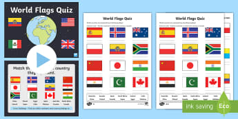 World Flags Quiz Pack - geography, flags, world, earth, countries, continents, nationalities,