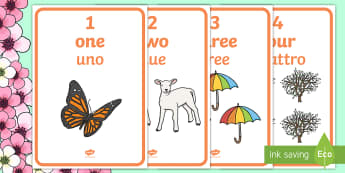 Spring Themed 1 10 Word and Number Posters English/Italian - Winter Themed Number Posters with Words & Numbers (1-10) -  Winter, numeracy, counting, number poste