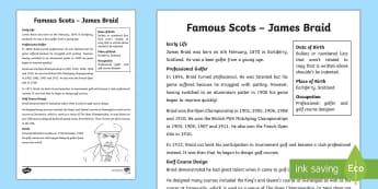 Scottish Significant Individual James Braid Fact File - CfE Scottish Significant Individuals, James Braid, golfer, Scottish sportsman, significant Scots, fa