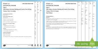 008 Eng Lang EDUQAS Style P1 Exam Questions Pack - English language GCSE Exam Papers, WJEC, EDUQAS, Reading, Writing, C19th Literature, Creative Prose,