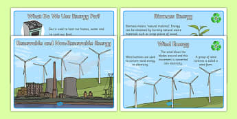 Renewable And Non Renewable Energy Information Posters - renewable, nonrenewable, non-renewable, sustainable, energy, different, types, information, poster, sign, display, climate change, renewable energy, solar, wind, nuclear, solar energy, wind ene