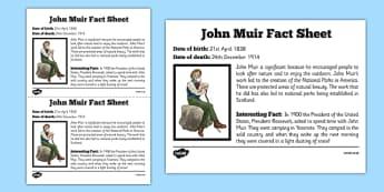 Scottish Significant Individuals John Muir Fact Sheet - Scottish significant individual, conservation, National Parks, Yosemite, Sierra Nevada, United States