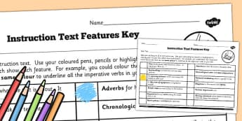 LKS2 Features of an Instruction Text Checklist - features, text, instructions, bossy words, imperative verbs,