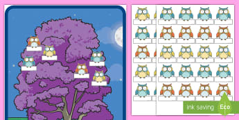Owl Theme Editable Self Registration - New Zealand Back to School, Owl theme, Self registration labels, Sign in board, name labels, Welcome