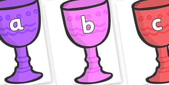 Phase 2 Phonemes on Goblets - Phonemes, phoneme, Phase 2, Phase two, Foundation, Literacy, Letters and Sounds, DfES, display