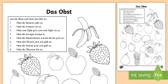 Fruits and Colours Activity Sheet - German  - Food, Fruit, Colours, German, MFL German, Languages, Obst, Deutsch