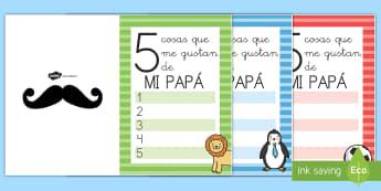 Felicitación: 5 cosas que me gustan - Día del Padre - día del padre, padre, papá, papi, felicitación, regalo, tarjeta, ,Spanish