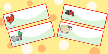 Drawer Peg Name Labels to Support Teaching on What the Ladybird Heard - what the ladybird heard, name label, draw and peg name label, draw label, peg labels, draw peg name labels