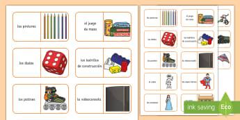 Toys Dominoes - Spanish, KS2, toys, game, dominoes