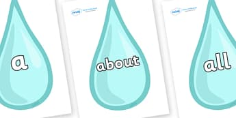 100 High Frequency Words on Water Droplets - High frequency words, hfw, DfES Letters and Sounds, Letters and Sounds, display words