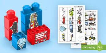 Transport EYFS Matching Connecting Bricks Game - EYFS, Early Years, KS1, Connecting Bricks Resources, duplo, lego, plastic bricks, building bricks, t