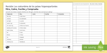 Customs in Spanish Speaking Countries Look Cover Write Check Activity Sheet Spanish - Secondary, 15, minutes, revision, activity, sheet, worksheet, spellings, customs, spanish, speaking,