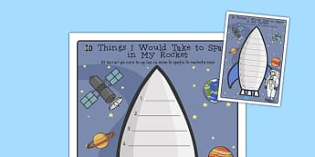 What Would I Take to Space Rocket Writing Frame Romanian Translation - romanian, what, would, take, space, rocket, writing frame