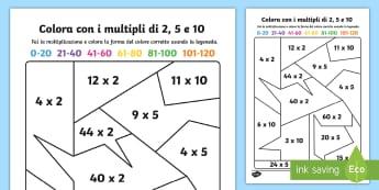 Colora con le Moltiplicazioni Attività - colora, con , le moltiplicazioni, calcoli, matematica, colori, colorare, italiano, italian, material