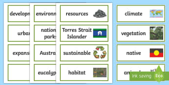 The Earth's Environment Word Cards - Literacy Integrated Unit, The Earths Environment, Year 3, Year 4, English, Geography, Word Cards,Aus