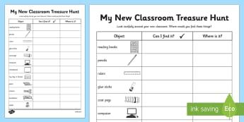 My New Classroom Treasure Hunt - new classroom, treasure hunt