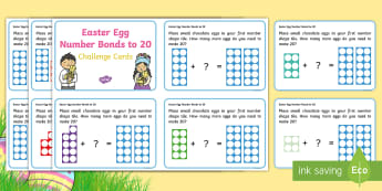 Easter Egg Number Bonds to 20 Number Shapes Challenge Cards - number bonds, 20, number shapes, addition, ks1, numicon, missing numbers