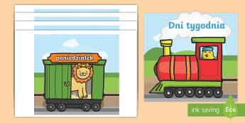 Nazwy dni tygodnia na wagonach pociągu A4 - dni, tydzień, tygodnia, poniedziałek, wtorek, środa, czwartek, piątek, pociąg, zwierzęta, kole