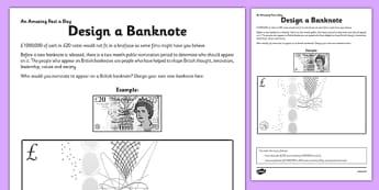 Design a Banknote Activity Sheet - money, art, design technology, DT, create, draw, worksheet