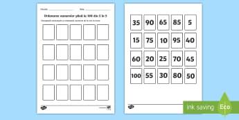 Ordonarea numerelor până la 100, din 5 în 5 Activitate - numere, multiplii lui 5, ordonarea numerelor crescător, ordonează de la mic la mare, activități,