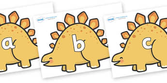 Phase 2 Phonemes on Stegosaurus Dinosaurs - Phonemes, phoneme, Phase 2, Phase two, Foundation, Literacy, Letters and Sounds, DfES, display