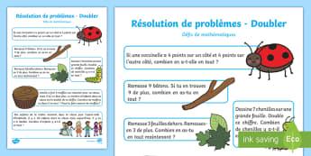 Feuille d'activités : Résoudre des problèmes en doublant des nombres - Mathématiques, numération, calcul, double, doubler, problème, résoudre, problem, cycle 1, cycle