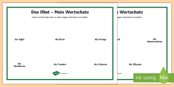 Draw Your Own Fruit Word Mat German - Food, German, Fruit, Obst, Word Mat, MFL