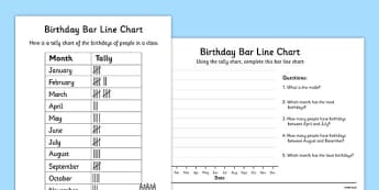 Birthdays Bar Line Chart Worksheets - bar and line chart worksheet, bar chart, line chart, recording birthdays, birthdays in a class, ks2 maths, ks2