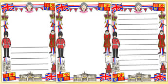 Royal Page Borders - royal, royal family, Queen, London, monarchy, page border, border, writing template, writing aid, writing, royal family resources