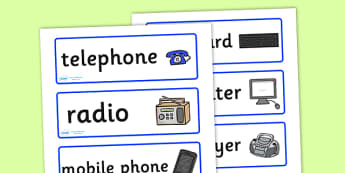 ICT Role Play Labels - ICT role play labels, ICT, role play, play, labels, labelling, computer, laptop, information, technology, communications