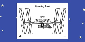 Tim Peake International Space Centre Colouring Sheet - tim peake, international, space centre, colouring, sheet